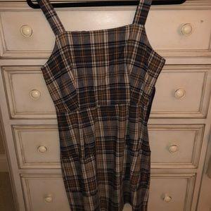 Plaid velvet tank dress